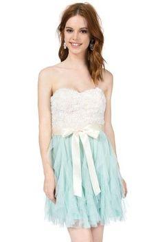 Teeze Me Strapless Soutache Top Petal Dress - Off-White/Aqua -11/12, Women's, Size: 11/12, Beige