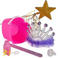 The Princess Favor Pack features our plastic Pink Heart Bucket filled with princess themed favors. Each Princess Favor Pack contains a Glitter Wand, Princess Bubbles, Marabou Slap Bracelet, Marabou Tiara and Diamond Ring.