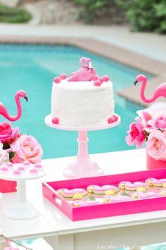 Flamingo cake at a flamingo Pool + Art Birthday Party by Kara Allen | Kara's Party Ideas KarasPartyIdeas.com Flamingle_-90
