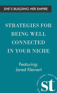 Jared Kleinert has been named USA Today's most connected millennial. He is an entrepreneur, Ted and keynote speaker and an author. In this episode, Jared talks to Stacy about his latest book and how it compares to his first one. He also discusses his motivations, business strategies and his vision for the future.