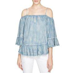 4bec404c1a4de6 Blank NYC Womens Cold Shoulder Vintage Pullover Top Denim