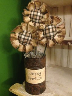 Primitive Flower Arrangement - Black/Brown Plaid on Etsy, $18.00