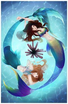 Gemini like mermaid art! Siren Mermaid, Mermaid Fairy, Mermaid Tale, Tattoo Mermaid, Mermaid Artwork, Mermaid Drawings, Mermaid Paintings, Fantasy Mermaids, Mermaids And Mermen