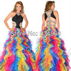 A Line Girls Rainbow Prom Dresses Organza Rhinestone Floor Length Beaded Dress Luxury $138.00