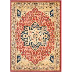 Austin Red/Creme 4 ft. x 5 ft. 7 in. Area Rug