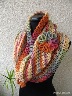 "Tutorial Crochet Scarf Pattern ""Happy Autumn Colors"", Trendy Crochet Cowl Scarf With Ruffled Edges, Lyubava Crochet Pattern number 58, via Etsy."