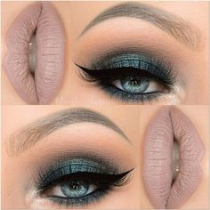 Beautiful dark green smokey eye with black blended into light brown on the crease finished with winged black eye liner and black lashes - a neutral brown or taupe lipstick works best with this look #makeup...x: