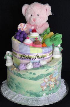 Teddy Bear Picnic Diaper cake www.facebook.com/DiaperCakesbyDiana