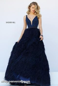 SHERRI HILL 32301: Sherri Hill Prom Dress, Spring 2016 Collection, Pageant Dress, Evening Gown, Beaded Top, Feathered Skirt, Available in blush, ivory, navy, and black.