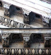 Detail of the modillions in the Corinthian pediment of the Pantheon, Rome, Italy.