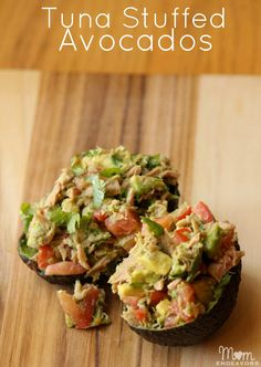Tuna Stuffed Avocados  Ingredients needed: 1 avo­cado 1 tomato, diced 1/2 can of Ocean Nat­u­rals tuna chopped cilantro to taste a squeeze of lime juice gar­lic pow­der to taste *optional — just a bit of shred­ded pep­per jack cheese.  We believe in eating healthy and living well at: www.northwestu.edu!