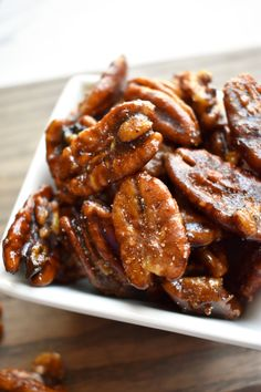 Stove-Top Candied Pecans: Vegan - Gluten/Wheat Free - Soy Free - Corn Free - (Contains Nuts) Walnut Recipes, Pecan Recipes, Candy Recipes, Real Food Recipes, Cooking Recipes, Vegetarian Recipes, Candied Pecans Recipe, Glazed Pecans Recipe Easy, Sugared Pecans