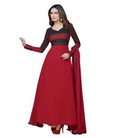 The Magical Thread Red And Black Georgette Semi-Stitched Anarkali Suit|Anarkali Suits|Ethnic Wear