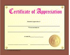 A certificate of appreciation that looks like a plaque, complete with brown frame and gold seal. The title is pink. Free to download and print