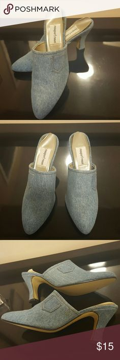 Newport News Slingback Shoes Denim slingback shoes with about a 3 inch heel..worn once. Perfect with jeans..great condition Newport News Shoes