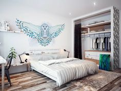 Snowy owl • Scandinavian - Bedroom ✓ 365 Day Money Back Guarantee ✓ Consulting on the Pattern Selection ✓ 100% Safe✓ Set up online!