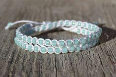 Macrame beach bracelet - Double wrap beaded bracelet - White waxed cotton and periodot glass beads 23usd