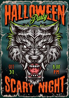 Colorful Halloween vector poster with werewolf.
