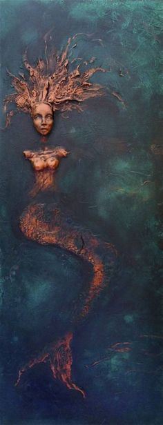 "Saatchi Art Artist Dr Franky Dolan; Painting, """"Mermaid"" Wall Sculpture Relief - SOLD"" #art"