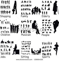All People Activity Silhouettes Vector Illustration