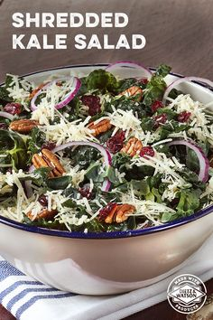 A simple but delicious salad recipe: Shredded kale topped with pecans, dried cranberries, Dietz & Watson Parmesan Cheese and homemade lemon vinaigrette.
