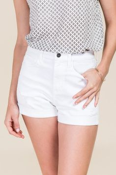 Harper High Waisted Rolled Hem White Jean Shorts