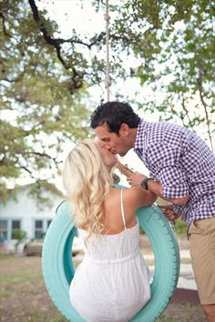 Turquoise Tire Swing Austin Engagement Photo  { Dallas | Fort Worth | Austin Wedding Photography by Heather Zak at TRU Identity Photography + Designs }