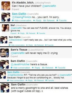 I'm starting to think I'm in love with Sam Claflin. His twitter responses are great. :)