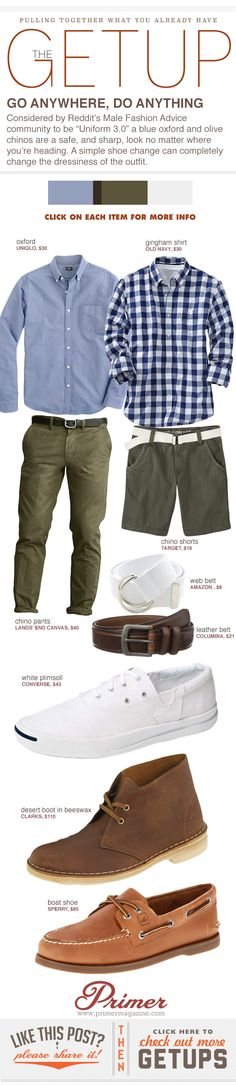 """Considered by Reddit's Male Fashion Advice community to be """"Uniform 3.0"""" a blue oxford and olive chinos are a safe, and sharp, look no matter where you're heading. A simple shoe change can completely change the dressiness of the outfit."""