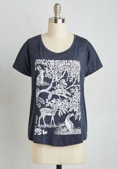 Forest Time I Saw You Tee - Blue, Casual, Lounge, Rustic, Critters, Woodland Creature, Short Sleeves, Knit, Good, Scoop, Mid-length, Print with Animals