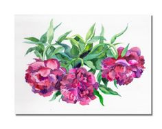 red flowers, bright pions, purple watercolor, garden bouquet, woman gift, bouquet of peonies, summer, painting a room,