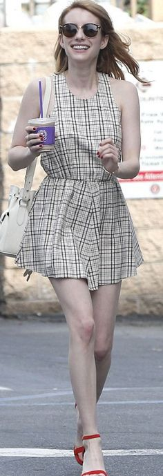 Who made  Emma Roberts' tan plaid dress, red sandals, and black sunglasses?