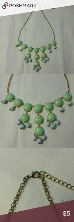 Statement necklace Soft green and blue on a gold tone chain Jewelry Necklaces