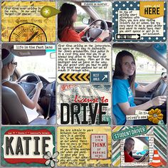 A page for my daughter's High School Pocket Scrapbook Album - learning to drive Drive Me Crazy by Libby Pritchett and Studio Basic Designs  ...