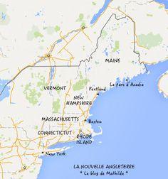 Visiter la Nouvelle Angleterre : 6 Etats à parcourir. Les voici présentés sur une carte. #Boston