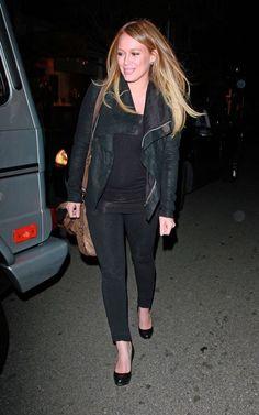 Hilary Duff. Pregancy style. Black on black.