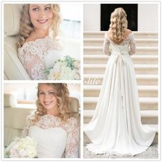 Elegant A-Line Wedding Dresses Plus Size Bateau Neck Open Back Sash Satin Cheap 2016 Vintage Western Country Lace Long Sleeves Bridal Gowns Online with $126.06/Piece on Sweet-life's Store | DHgate.com