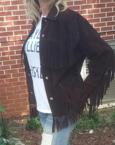 Vintage Brown Suede Fringe Jacket - Vintage Suede Jacket - Hippie Suede Fringe Jacket - Boho Suede Fringe Jacket - Fringe Leather Jacket by MyHailiesHaven on Etsy