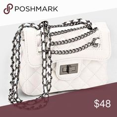 "|new| Exquisitely Chic • Color : White  • Size : 7.5"" W, 5.5"" H, 3"" T • Strap Size : 13"" L  • Twist Lock Closure • Quilted Faux Leather Shoulder Bag  .Ask About Custom Bundles.  .Poshmark Rules Only. No Trades.  .Additional Pics Available as Time Allows. GoodChic Bags Shoulder Bags"