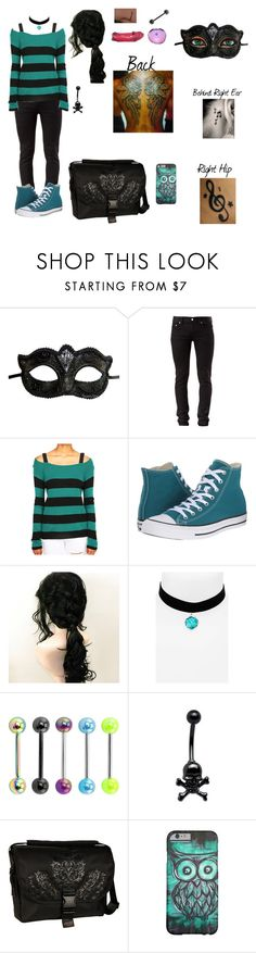 """""""Bloody B"""" by evil-unicorn90 ❤ liked on Polyvore featuring Music Notes, Masquerade, BLK DNM, Converse, Topshop and Laurex"""