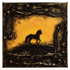 Sundown (Naplemete) - 20 x 20 cm, 2018 #paverpol #textile #textil #acrylic #akril #vivienholl #horse #ló #naplemente #sundown Textiles, Techno, Painting, Art, Art Background, Painting Art, Kunst, Paintings, Performing Arts