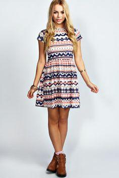 Amber Geo Print Skater Dress at boohoo.com