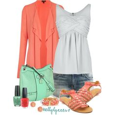 Casual Coral & Mint by kellylynne68 on Polyvore