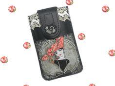 MATHILDE Housse cuir téléphone portable portrait rétro 1900 sur cuir noir : Etuis portables par catsoo