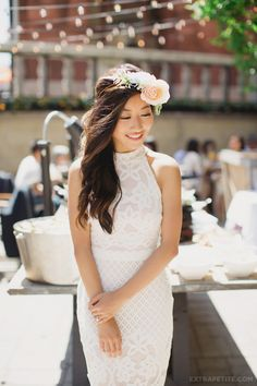 Garden party / bridal shower brunch. In white lace dress + flower crown