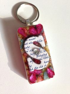 Upcycled Alcohol Ink Domino Letter S Initial Keychain by CraftyColettes, on Etsy