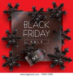 Abstract Black Friday Sale poster design, template. Vector illustration. Black Friday Sale discount background with black snowflakes. Advertising banner. Стоковые векторные изображения и Стоковые фотографии | Bigstock