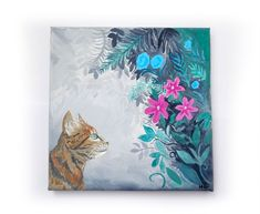 Floral tabby cat art print painting available to buy. This beautiful cat art print would look great in any cat moms home. Acrylic Artwork, Canvas Artwork, Small Canvas Paintings, Original Paintings, Cat Love Quotes, Cat Art Print, Cat Room, Kitty Cats, Ragdoll Kittens