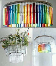 test tube rainbow chandelier, with light. science is so pretty ♥ Rainbow White Color Design Art Food Pretty Beautiful Colorful Fashion ♥ oreos cookies Test Tube Crafts, Diy Upcycling, Upcycle, Diy Inspiration, Family Room Design, Over The Rainbow, My New Room, Plant Hanger, Rainbow Colors