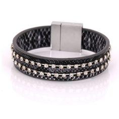 2016 statement wrap bracelet with bling stones leather bracelet couple jewelry wholesale fashion bracelets & bangles for women